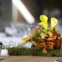 Dekoracja stołu weselnego mchem i kwiatami