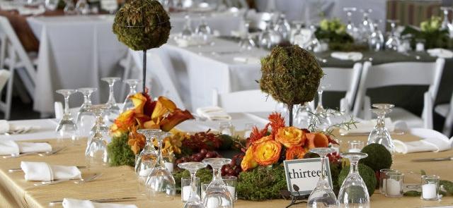 Mini ogród na stole weselnym