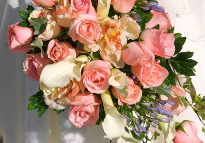 Różowa kaskada z kallami