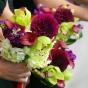 Dalie i orchidee - bukiet ślubny
