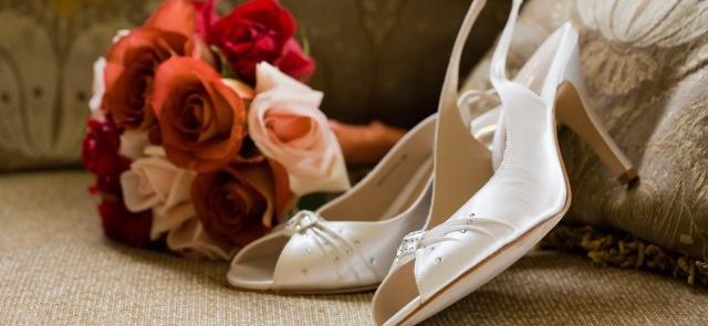 Buty ślubne skórzane z cyrkoniami