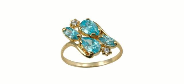 Nietypowy pierścionek z szafirami i diamentami