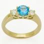 Pierścionek na zaręczyny - szafir i dwa diamenty