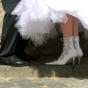 Kozaki dla Panny Młodej ozdobione koronką