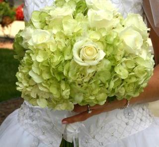 Hortensja w ślubnej wiązance