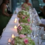 Dekoracja stół weselnego zielonymi hortensjami
