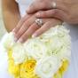Biało-żółty bukiet róż z kryształkami