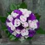 Bukiet ślubny z róż i fioletowej eustomy