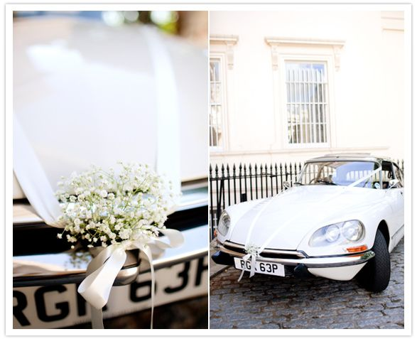 Dekoracja samochodu ślubnego ze wstążek
